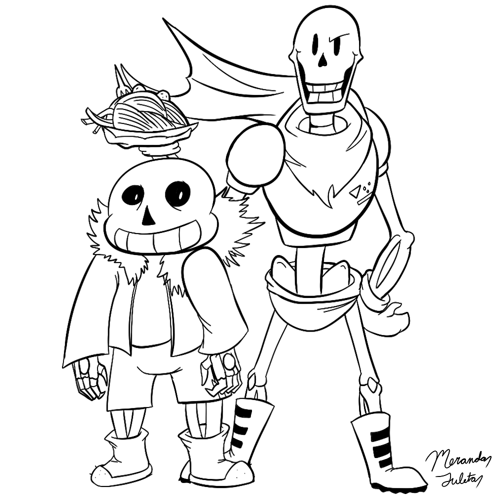 Sans And Papyrus Coloring Page By Dragonfire1000 On Deviantart