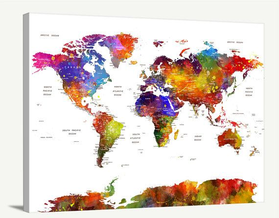 Push pin travel world map wall art canvas print push pin travel este artculo no est disponible gumiabroncs Image collections