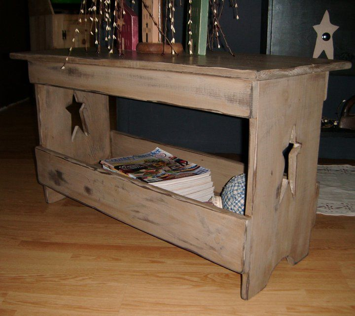 Primitive Coffee Table Bench 75 00 Stars And Stitches Primitives With Images Primitive Coffee Table Primitive Decorating Country Decor