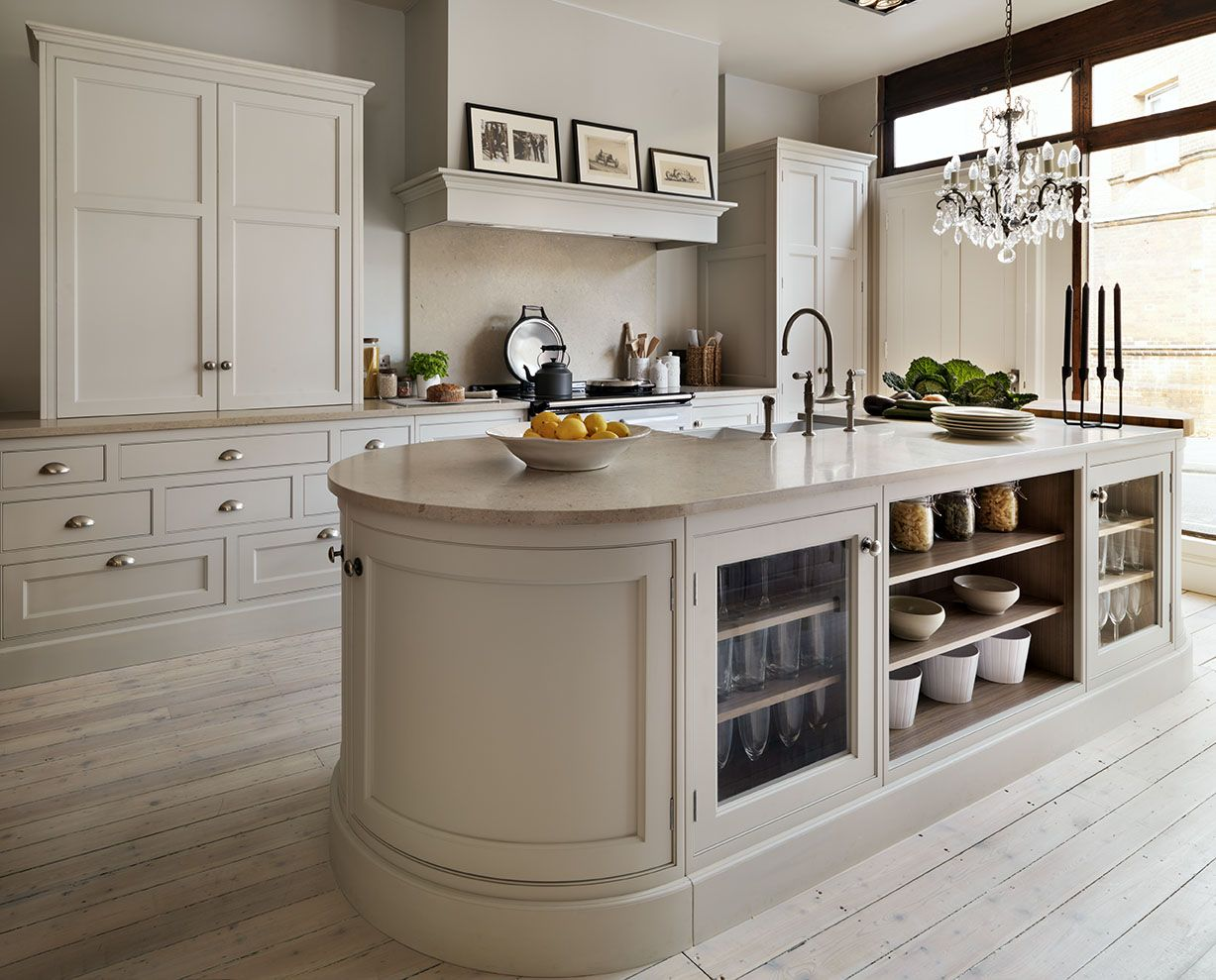 cream kitchen love the curved island Traditional