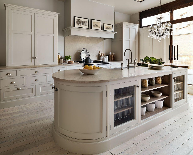 Cream kitchen love the curved island kitchen ideas pinterest