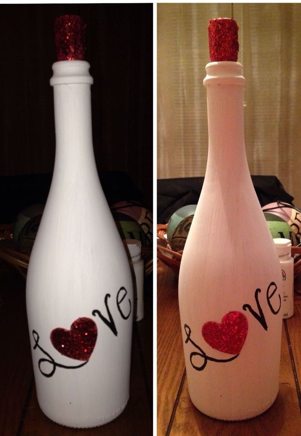 Pin By Sylvia Duryea On Lighted Bottles In 2020 With Images Hand Painted Wine Bottles Valentines Wine Bottles Valentines Wine