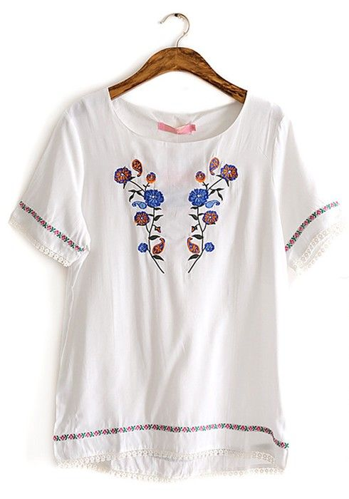 White Floral Embroidery Round Neck Cotton T-shirt