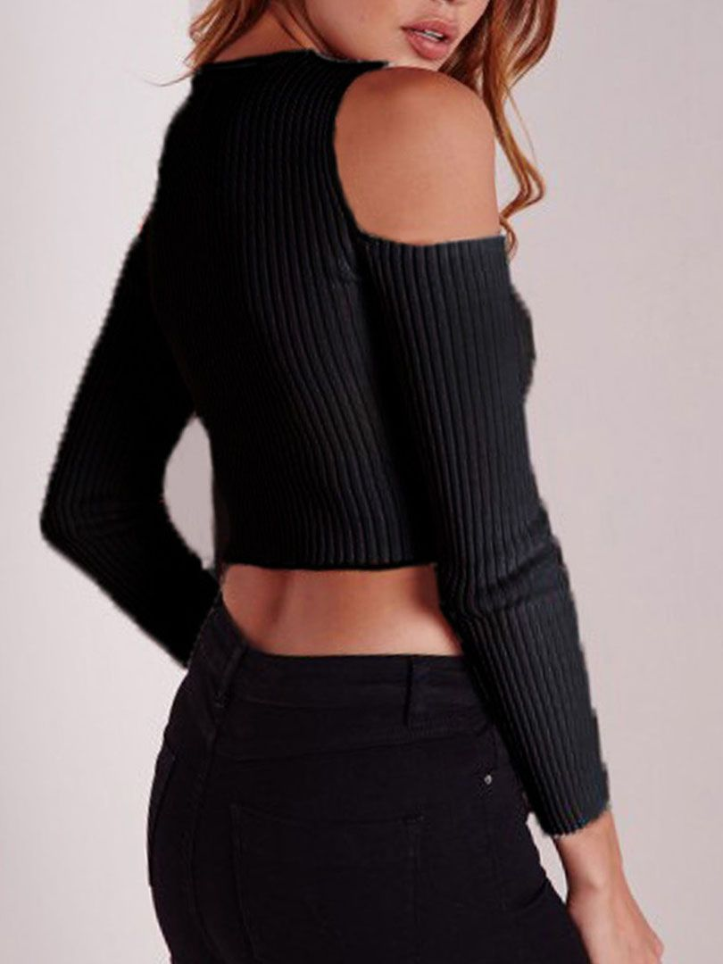 Shop Black Cold Shoulder Crop Tight Knitted Sweater from choies ...