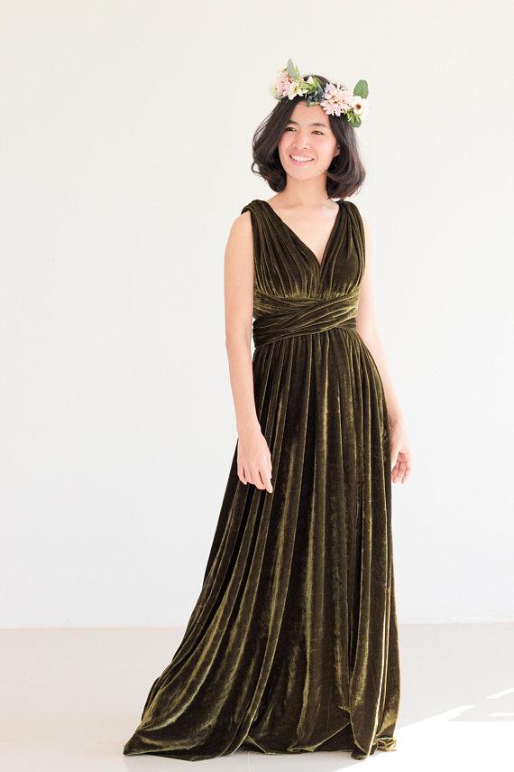 Olive green Velvet Bridesmaid Dress Nude pink infinity Dress Prom ...