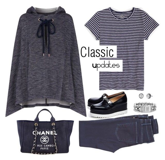 """""""Classic Updates"""" by musicfriend1 ❤ liked on Polyvore featuring See by Chloé, Chanel, J.Crew, Karl Lagerfeld, McGuire Denim, Buddha to Buddha and Stella & Dot"""