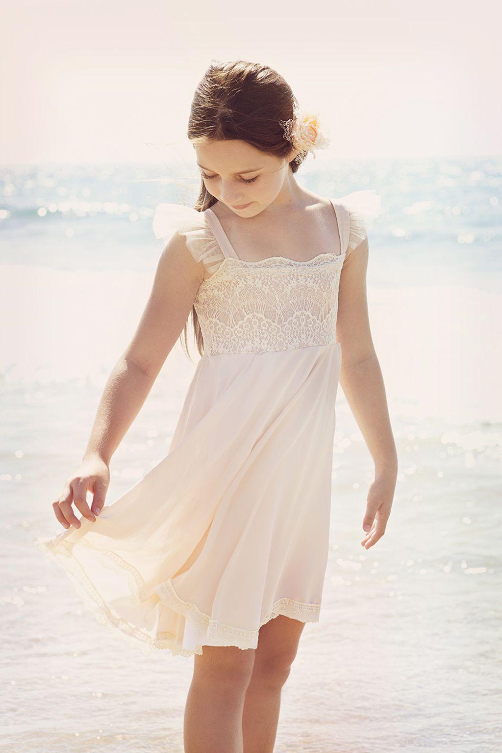 Blush pink lace and chiffon dress flower girl dress