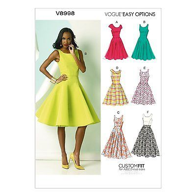 Vogue Pattern V8998 American Designer Dress Pattern 6-22 Free UK ...