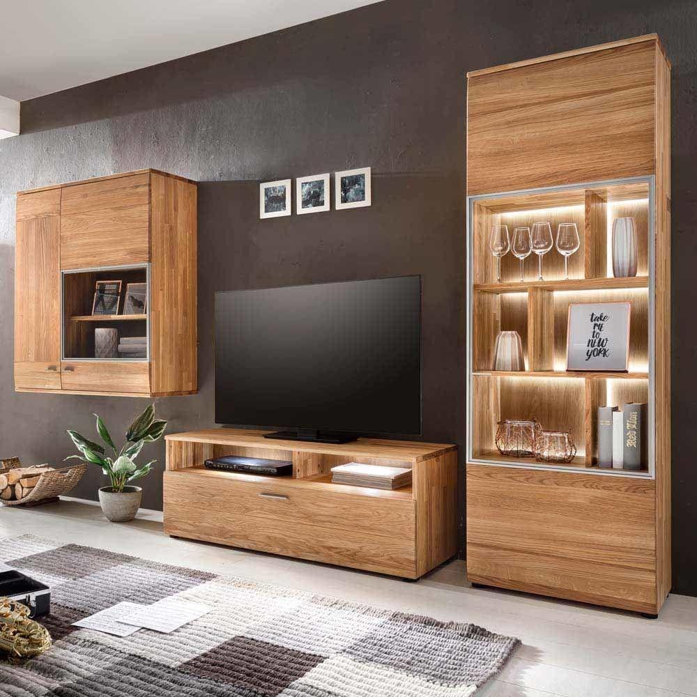 Wohnzimmer Schrankwand aus Eiche massiv natur geölt (18-teilig