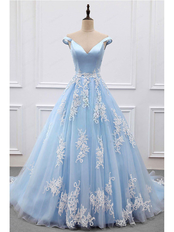 c7855192a7b Princess Prom Dresses A-line V-neck Sky Blue Off the Shoulder Quinceanera  Dresses APD3008