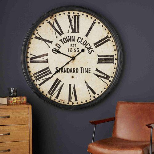 horloge noire vieillie johnson maisons du monde