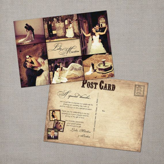 Items Similar To Rustic Vintage Wedding Thank You Collage Cards 5x7 The Lola On Etsy