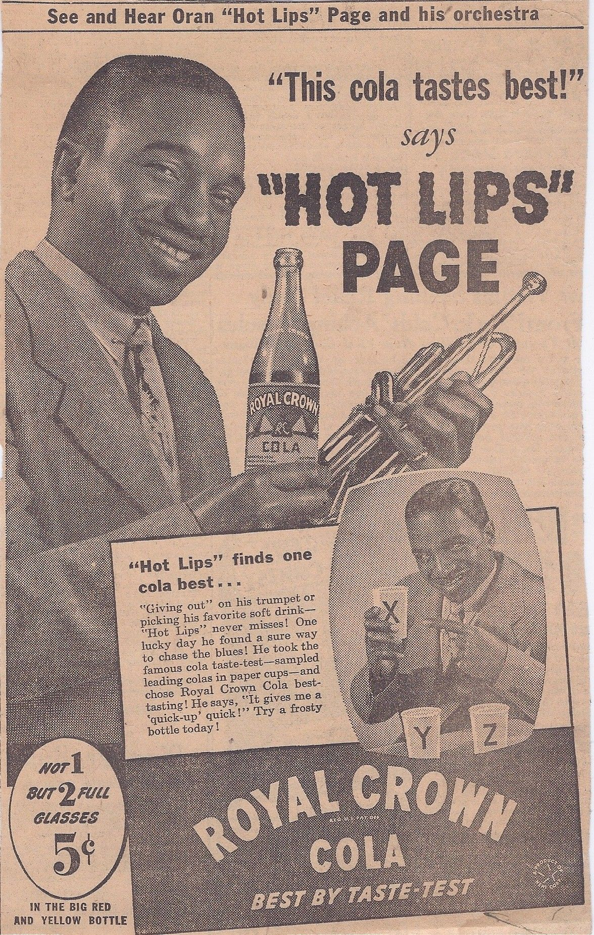 Hot Lips Page / Royal Crown Cola Vintage Ad