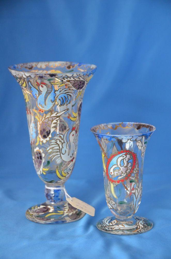 Moser Signed Royo Enameled Vases Vintage Antique Art Glass Art