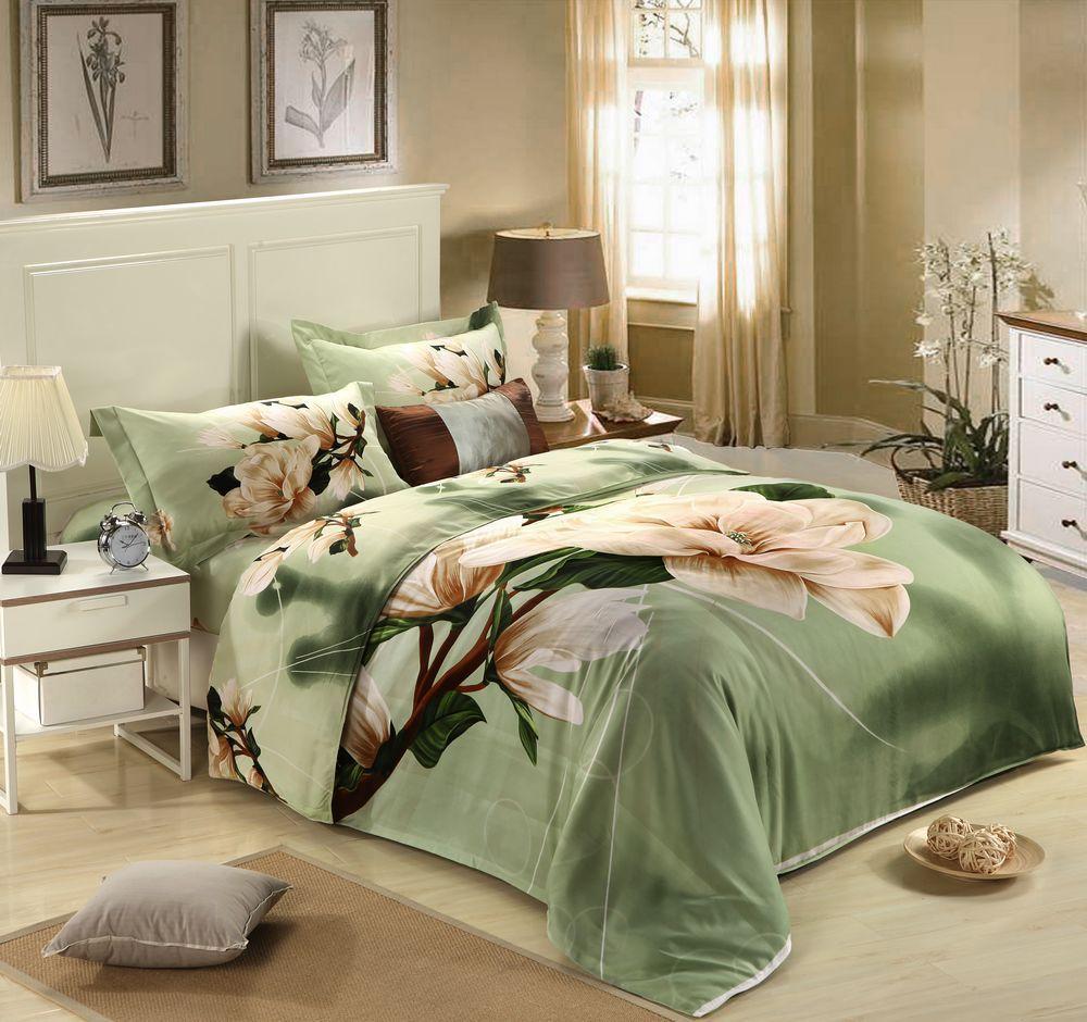 Soothing Colors Wedding 4pc 3D Bedding Set Quilt Duvet Comforter Cover Sets Queen Size