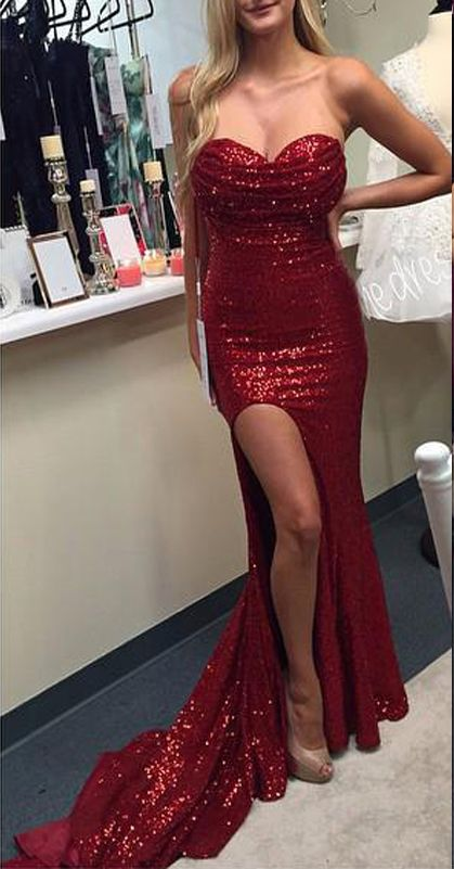 2807fec6 Sparky Burgundy Sequin Prom Dresses Sweetheart Mermaid Evening Gowns,Hot  Sales Side Slit Evening Prom Dress 2017 Women Party Gown