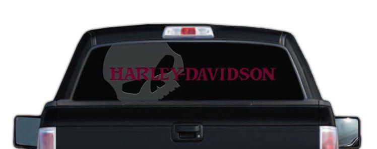 HarleyDavidson Rear Window Graphic Decal Red Skull - Window decals for trucks rear