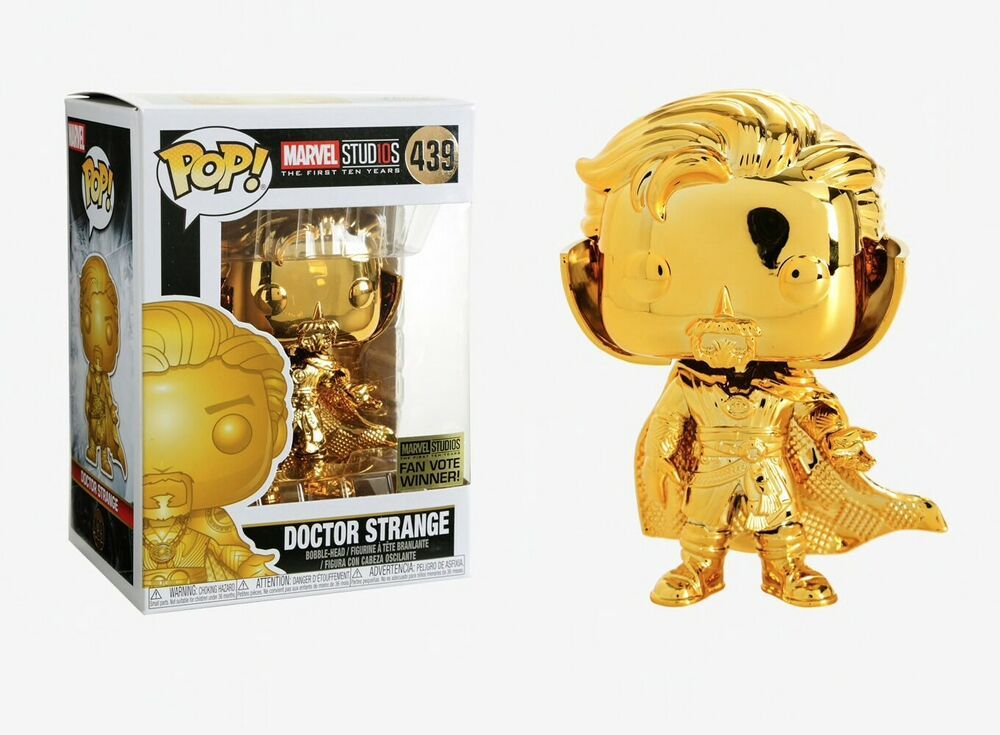 Funko Pop DOCTOR STRANGE 439 Marvel Studio 10th Anni Gold Chrome with Protector