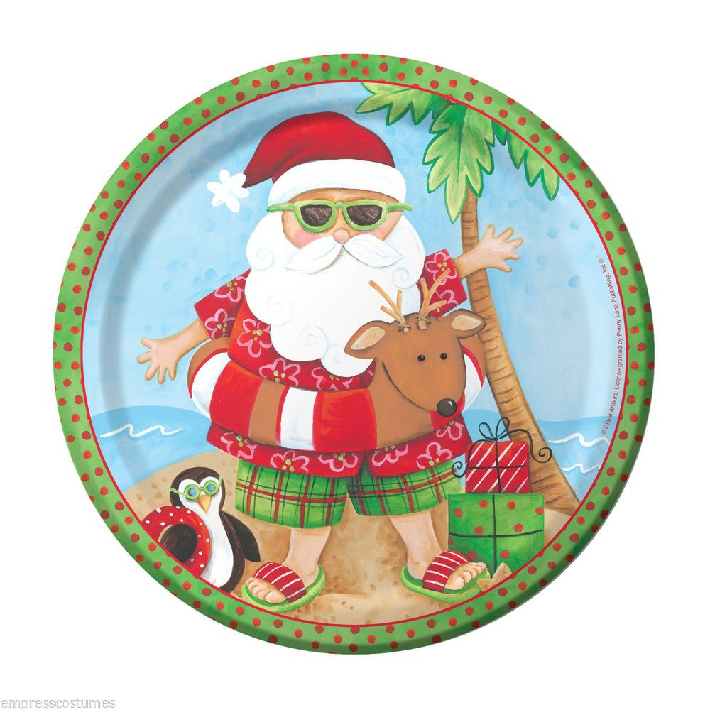 Christmas In July Party Supplies.Elevenfy Summer Santa Christmas Party Plates X 8 Party