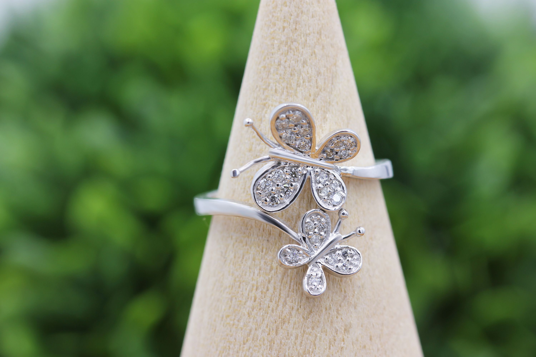 14K Gold Diamond Butterfly Ring Diamond, Fashion rings