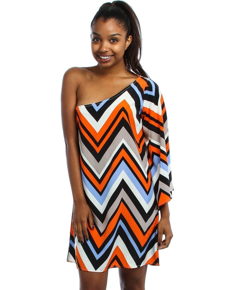 Orange multi chevron striped one off shoulder short retro sun summer