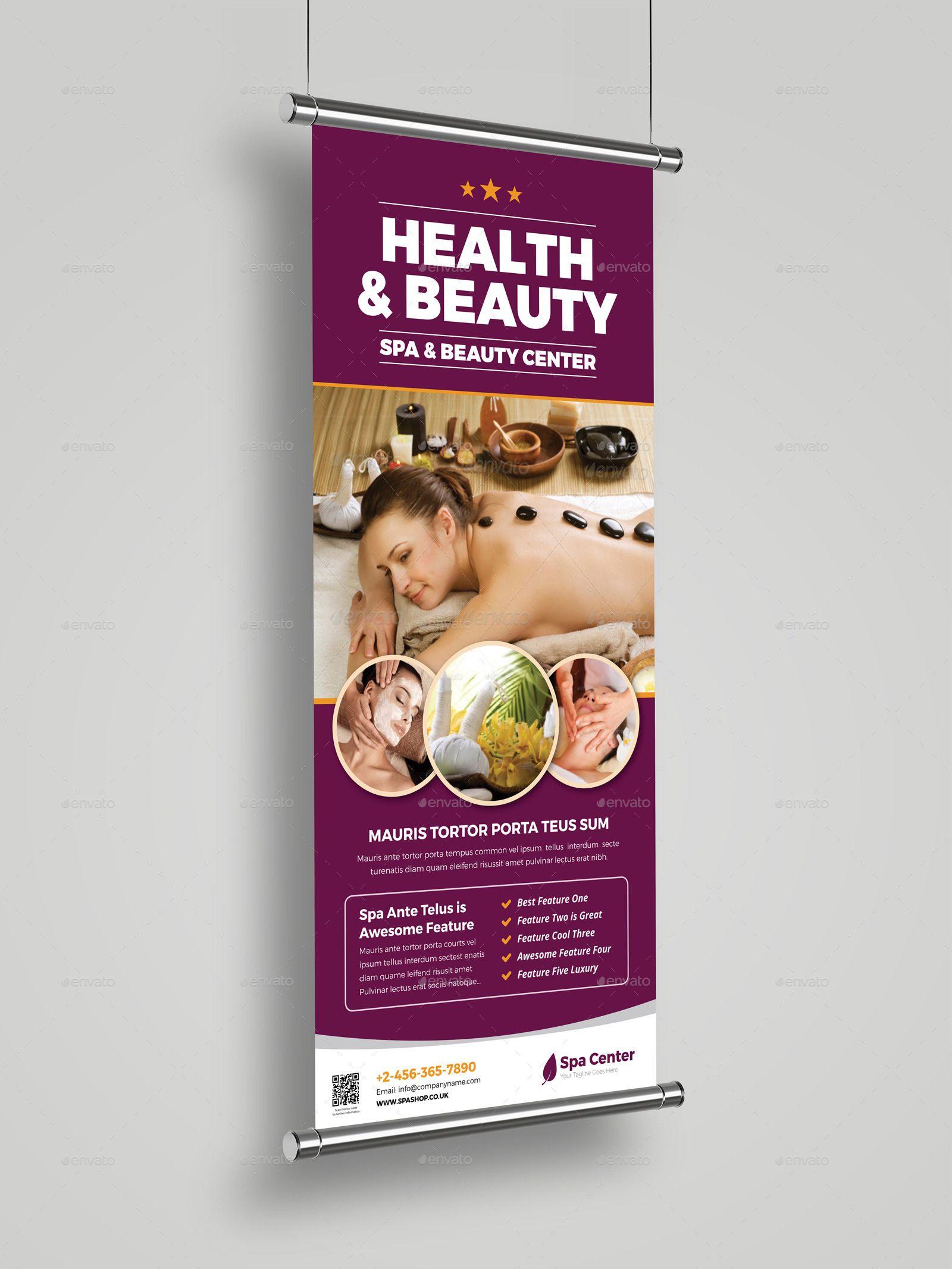 Spa Beauty Roll Up Banner Signage InDesign Roller banner