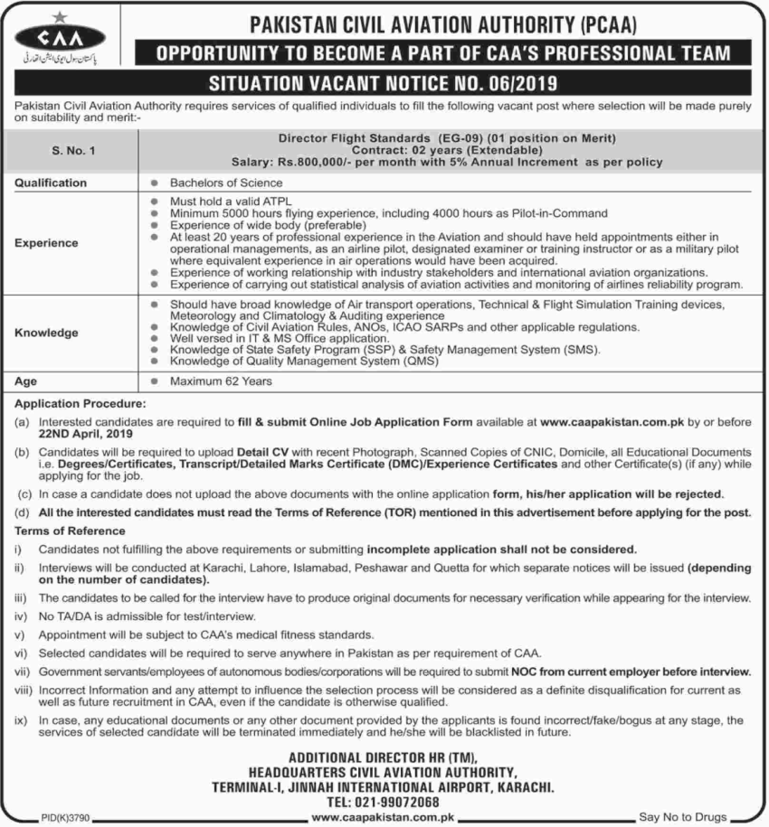Pakistan Civil Aviation Authority Pcaa Jobs Civil Aviation