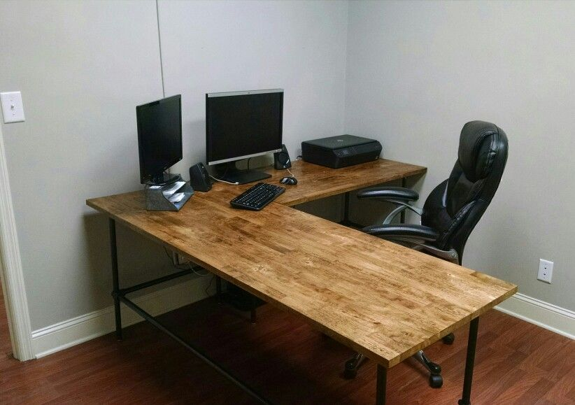 Industrial Desk Butcher Block Top Industrial L Shaped
