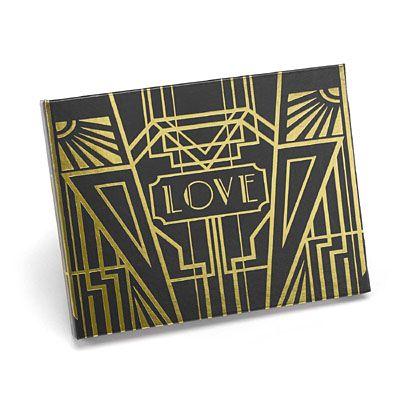 Art Deco Black Guest Book - Gold