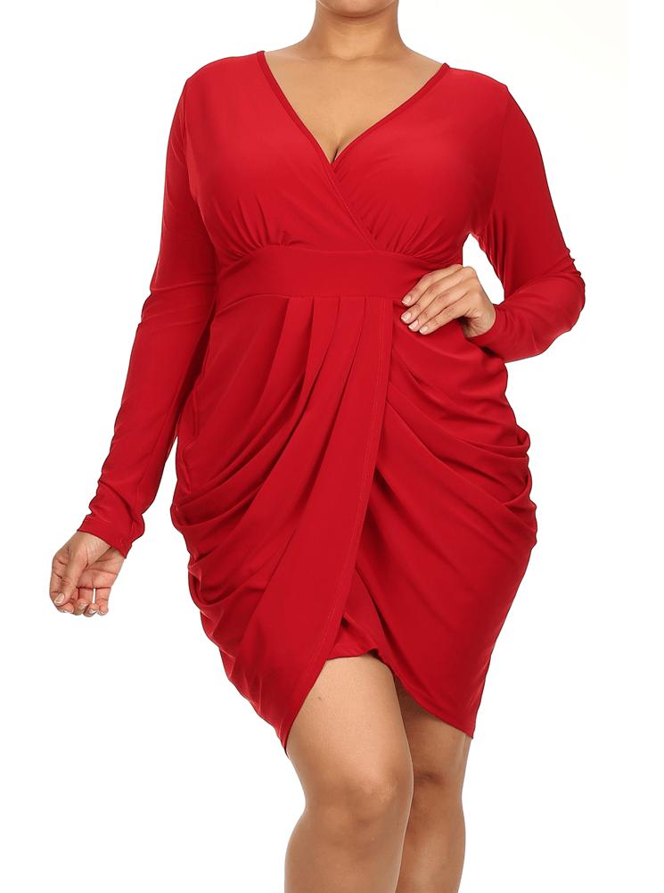 Plus Size Red Club Dress Dress On Sale
