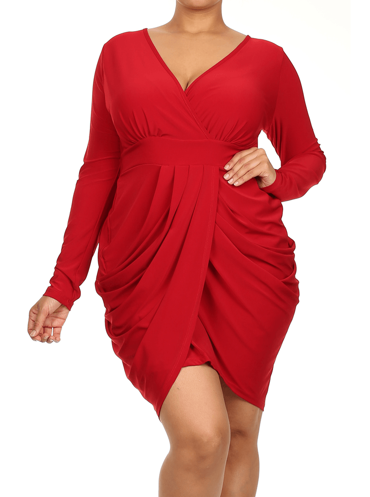 Plus Size Long Sleeve V Neck Bubble Red Dress | one day | Dresses ...