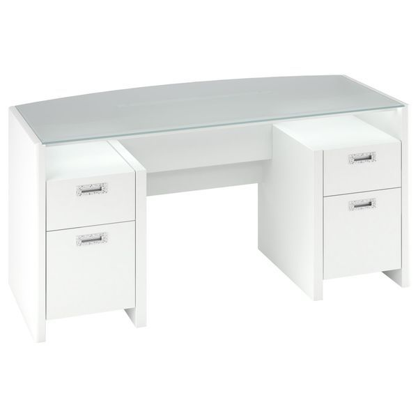 Kathy Ireland Office By Bush Furniture New York Skyline 63 Bow Front Double Pedestal Desk