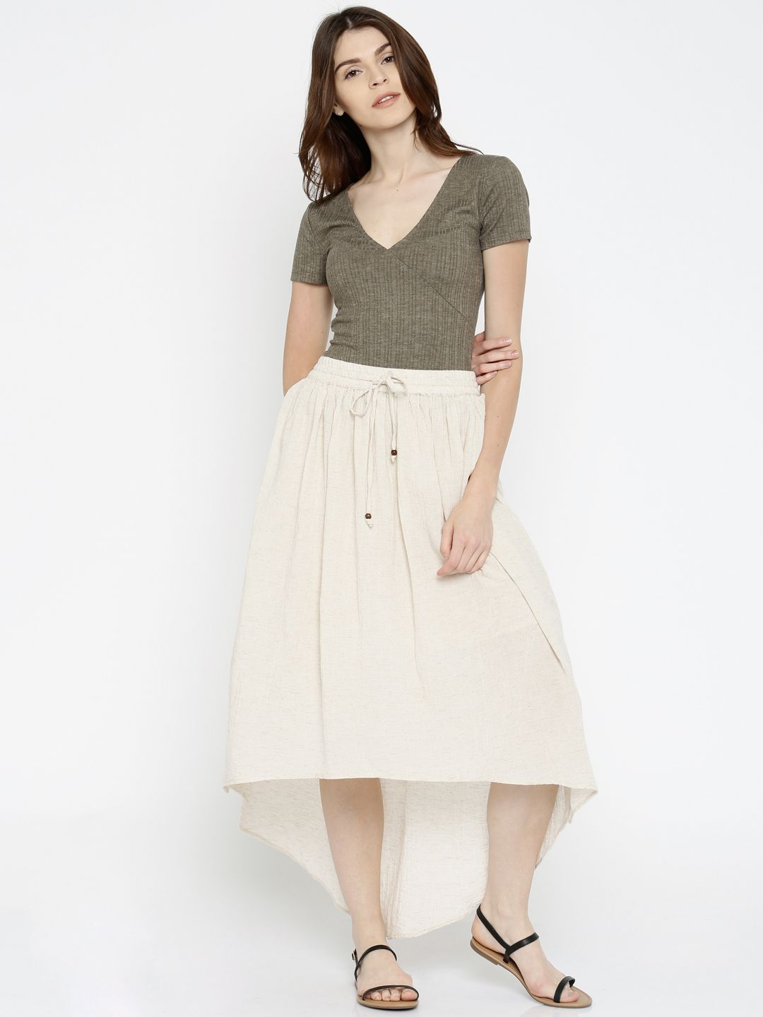 93aea8d6c Global Desi Off-White Speckled High-low Skirt #Skirt #OffWhite #Solid # highLow #CalfLenght