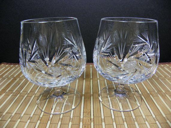 Vintage Set Of 2 Pinwheel Crystal Cognac Brandy Snifters Crystal Glassware Brandy Glass Perfect Glass