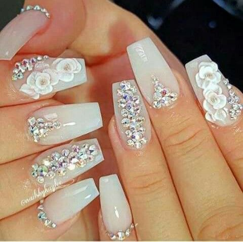 Pin by marcela sanchez on bride nails pinterest bride nails beautiful wedding nail art design with nail art and rhinestones nice idea for your special day prinsesfo Images