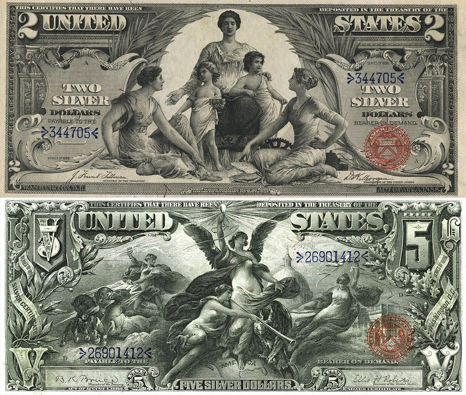 Old United States money.. $2 dollar and $5 dollar bills backed by ...