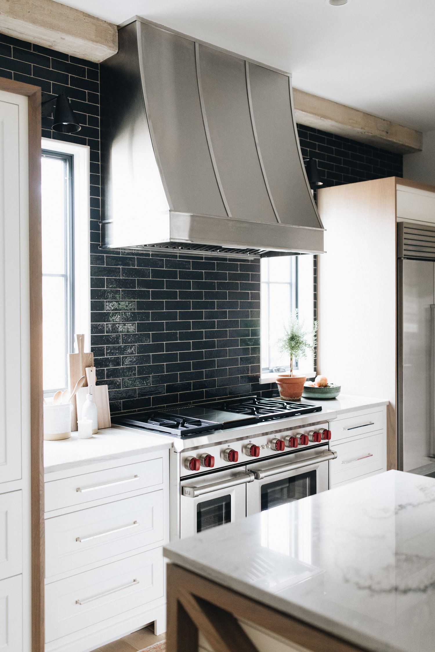 Navy Shimmering Subway Tile Stainless Vent Marble Countertops