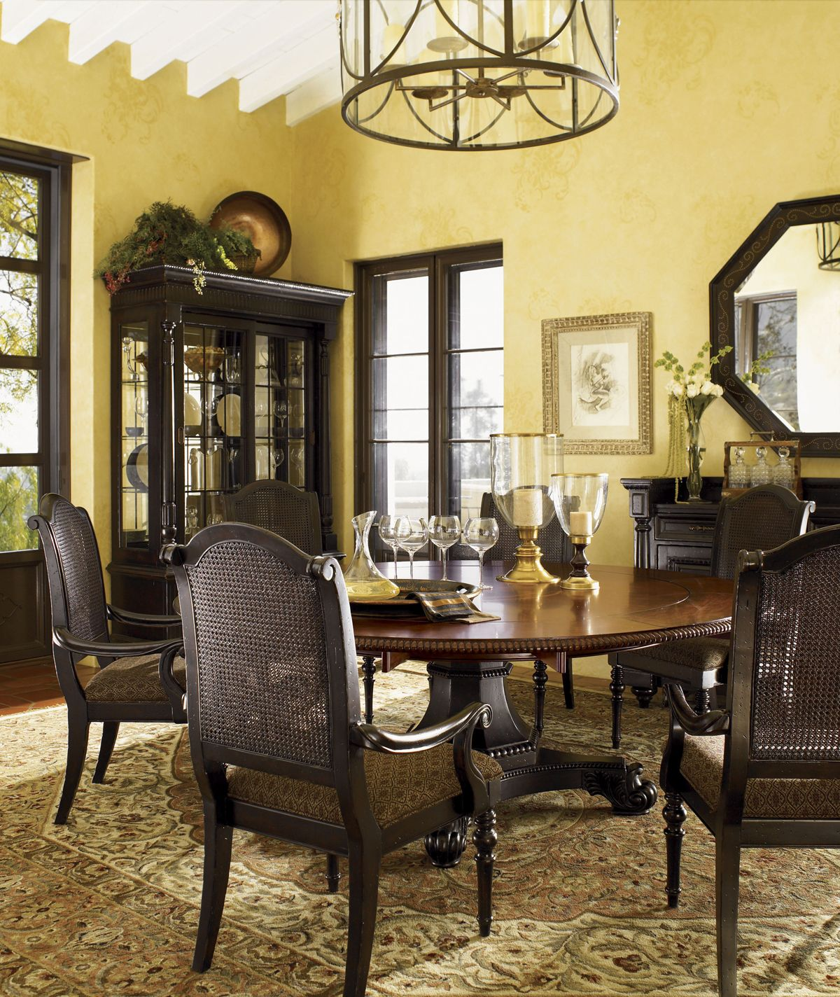 Kingstown bonaire round dining table lexington home brands ideas tommy bahama home kingstown bonaire round formal dining table in cassis finish arubaitofo Gallery