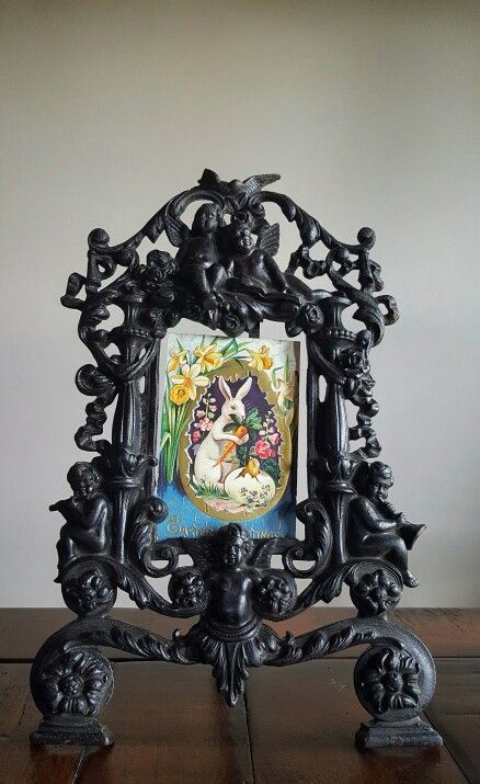 Antique Cast Iron Picture Frame with Antique Easter Post Card