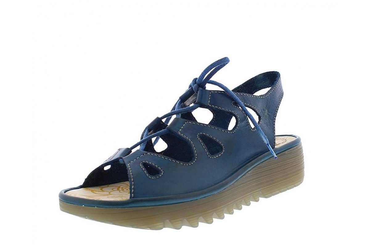 84e820264e9b Fly London Exon Blue Leather Lace Up Wedge Heel Open Toe Sandals ...