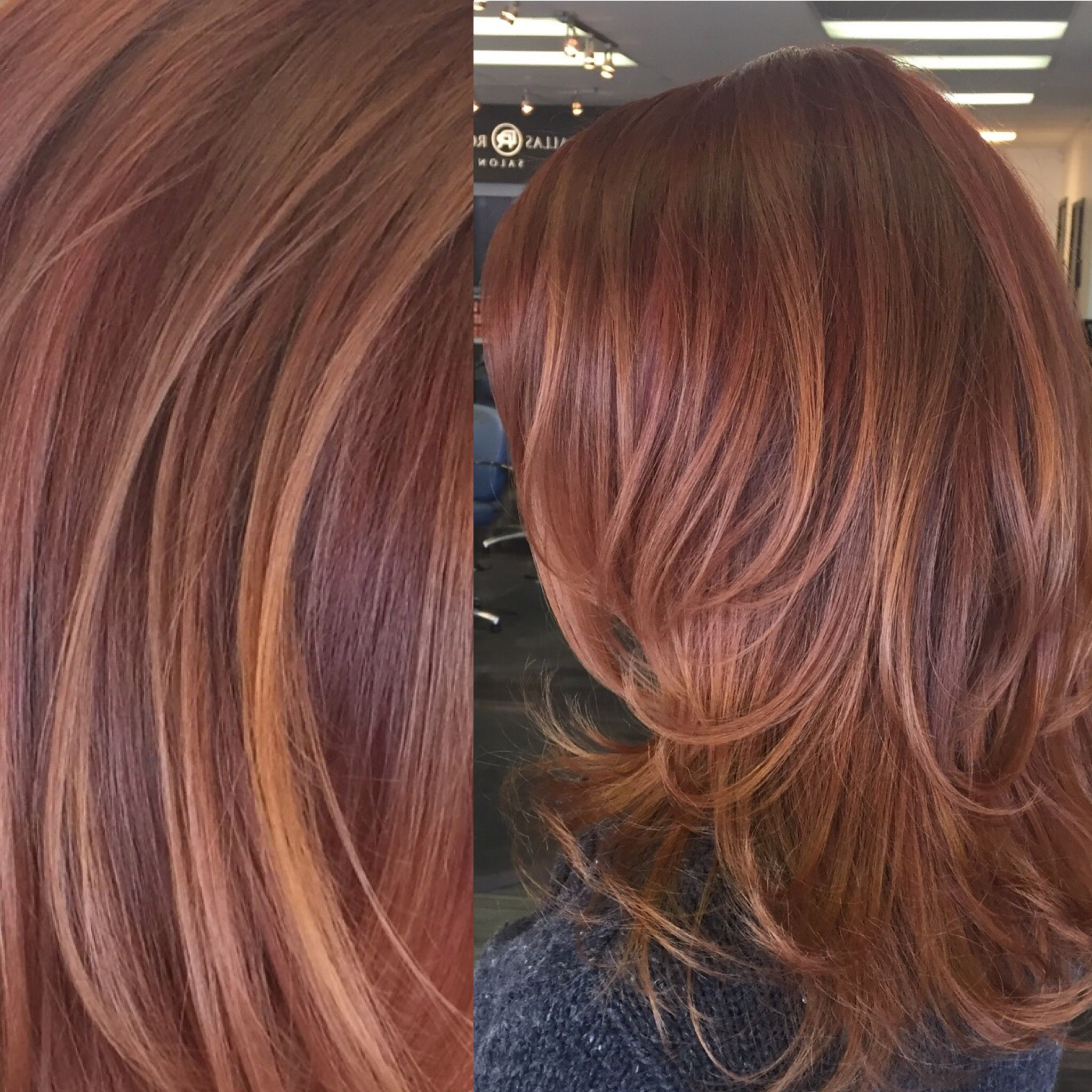 Red and copper toned balayage highlights hair by carley throgmorton