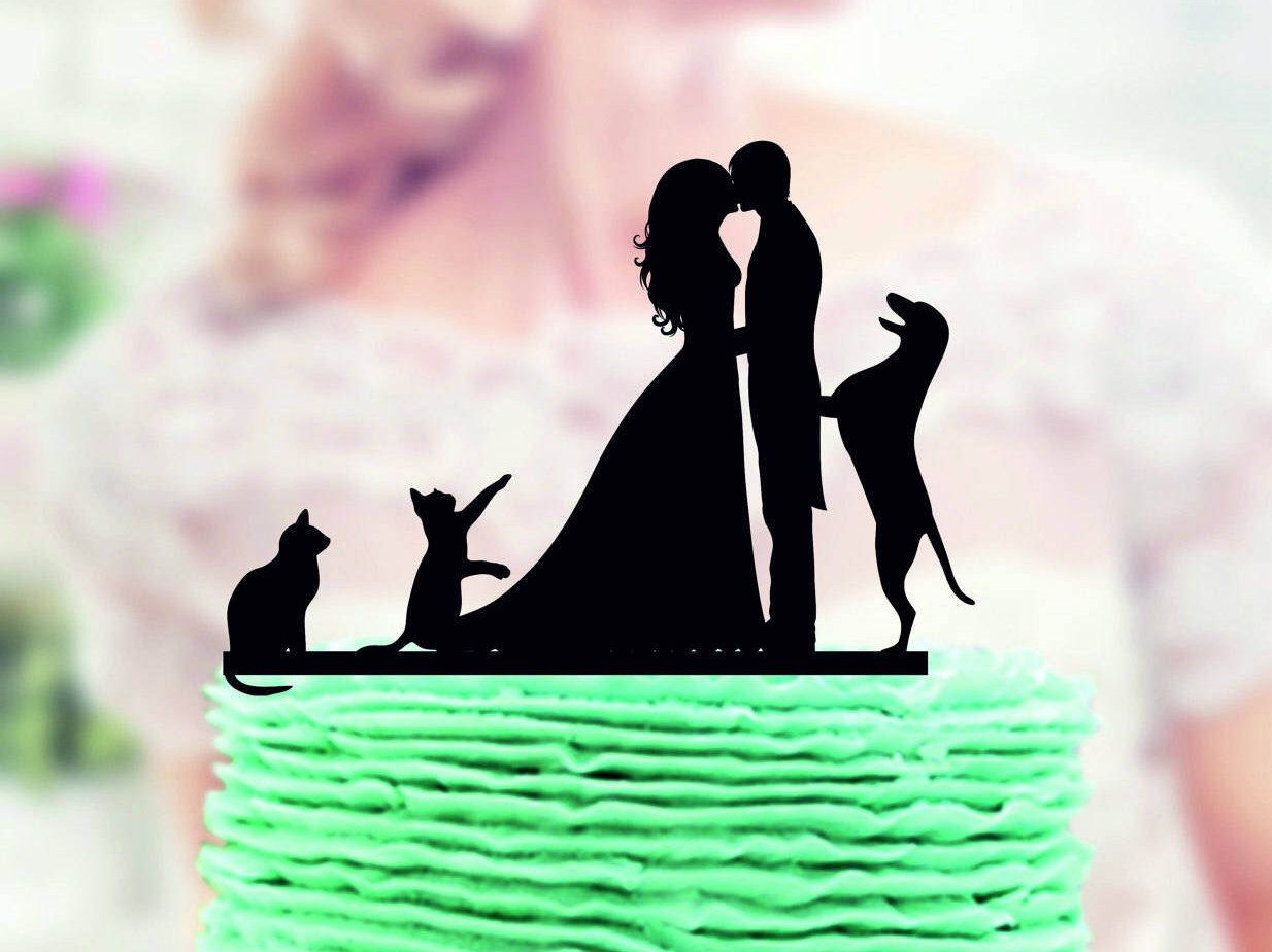 Wedding cake topper with cat and dog wedding cake topper with dog