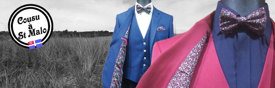 costume bleu clair doublure liberty à fleur rose fuchsia et nœud