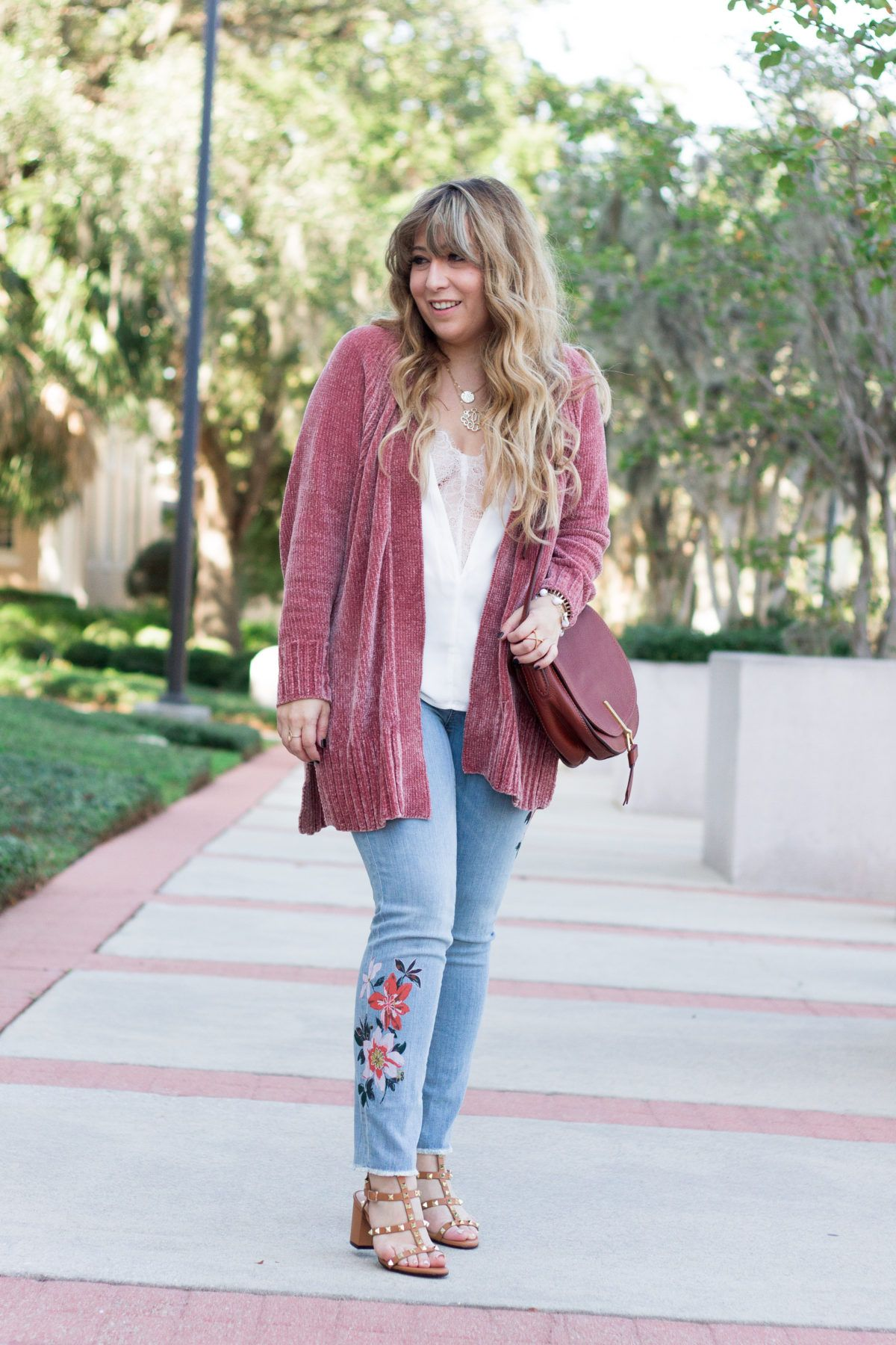 9d1f88fe0f Cozy Chenille Cardigan + Floral Jeans Outfit for Fall