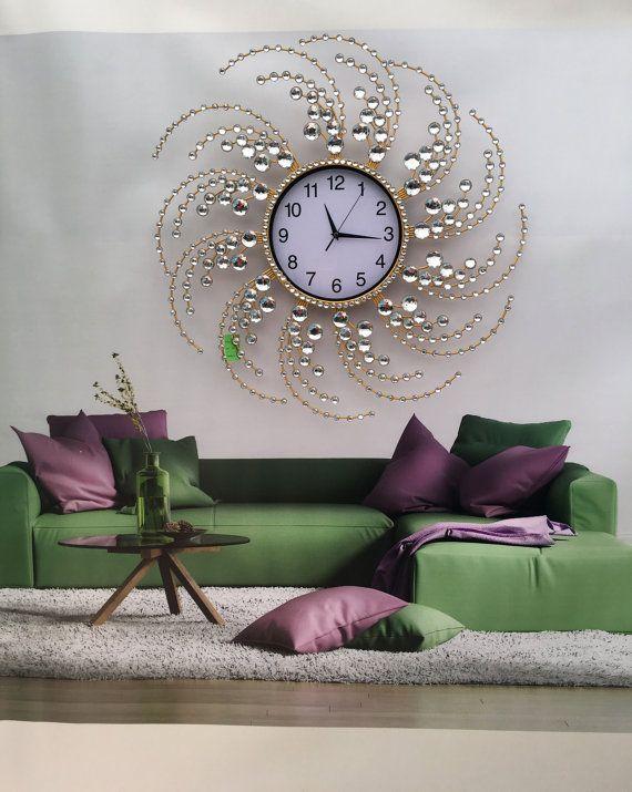 Fancy Crystal Wall Clock Etsy In 2021 Modern Living Room Wall Wall Clocks Living Room Clock Wall Decor