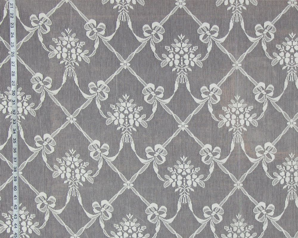 Nottinham Lace Curtain Fabric Ribbon Flower Ivory Lace Curtains