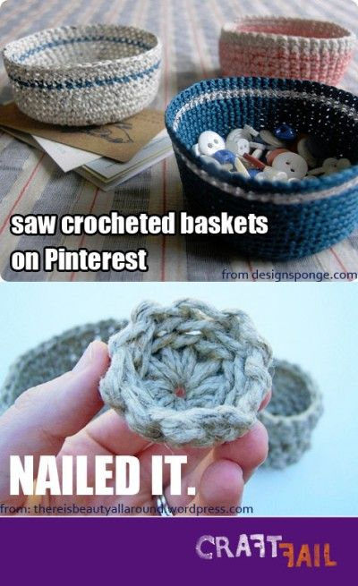 Epic Knitting Fails : Crocheted basket nailed it crafts clever