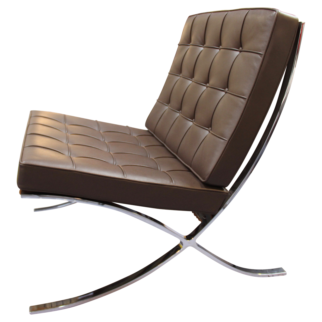 fauteuil barcelona cuir chocolat par ludwig mies van der rohe pour knoll chaises fauteuils. Black Bedroom Furniture Sets. Home Design Ideas