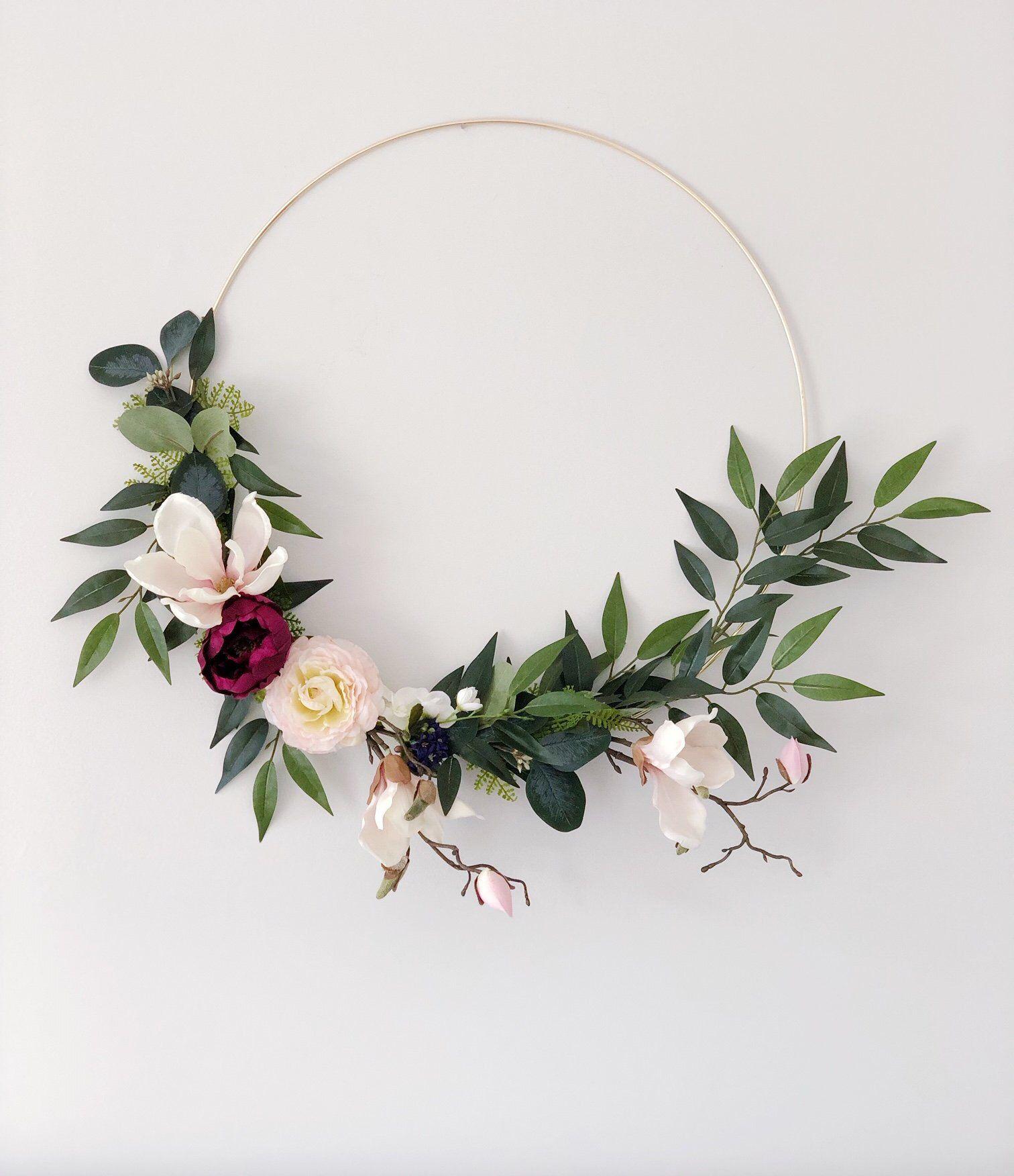 Photo of Magnolia Hoop Wreath, Minimalist Wreath, Hoop Wreath, Modern Spring Wreath, Gold Hoop Wreath, Wedding Hoop Wreath, Wedding Backdrop