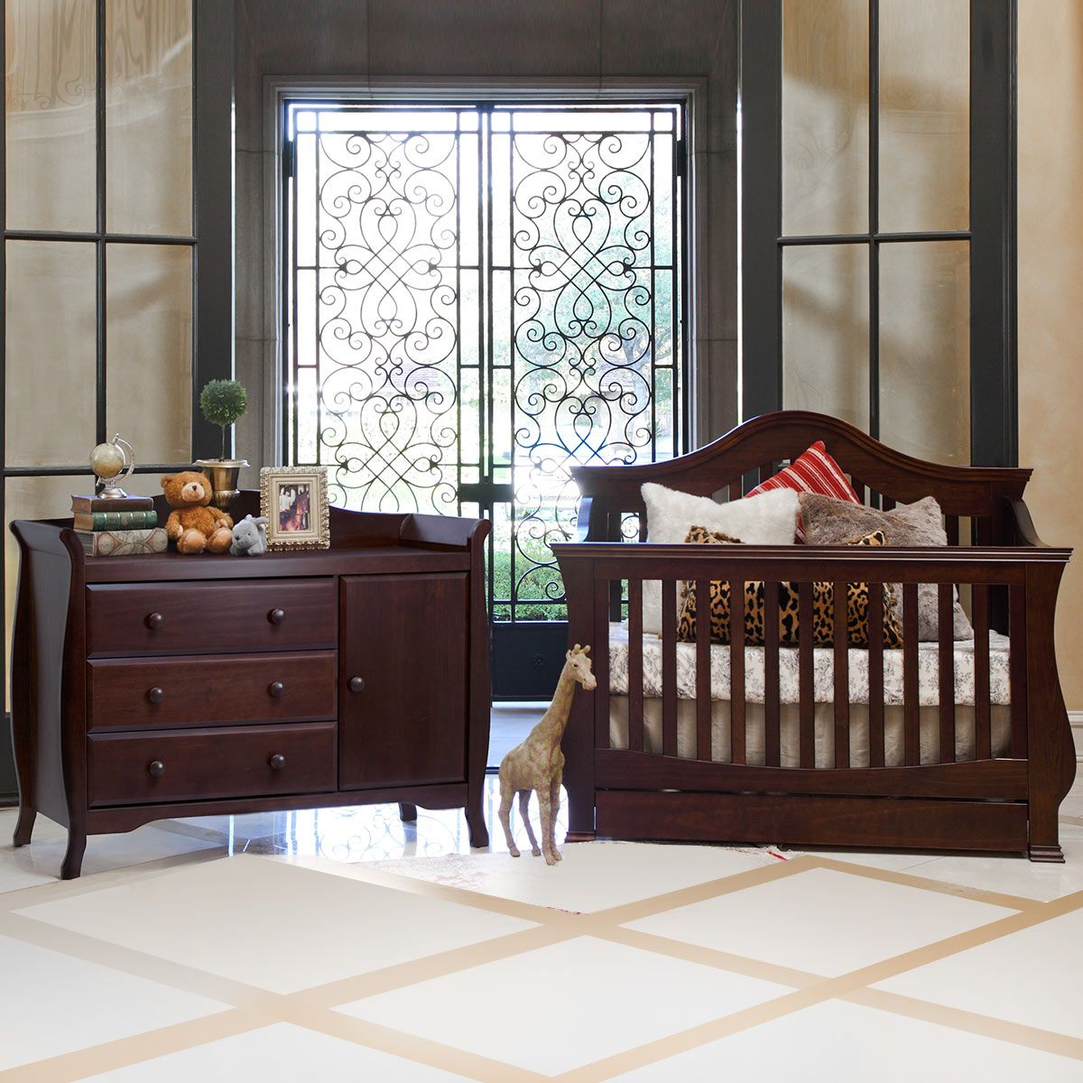 Baby cribs baby r us - Million Dollar Baby 2 Piece Nursery Set Ashbury 4 In 1 Sleigh Convertible